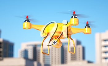 Generic quadcopter with camera spying in city. 3d illustration