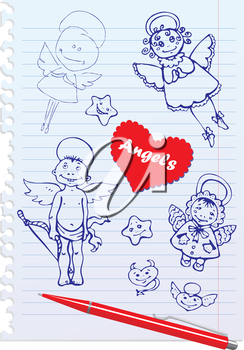 Set of Hand-Drawn Sketchy Angels on Lined Notebook Paper Background