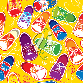 seamless pattern - colored children  gumshoes on yellow background