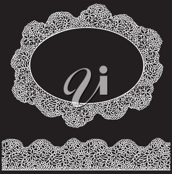 Lace oval frame and seamless stripe. Vintage white Doily isolated on black background
