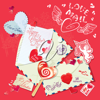 Vintage Holiday Postcard with letters, papers, sweets, hearts, angel, calligraphic text Happy Valentine`s Day.