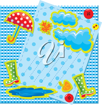 hand made frame in autumn style with rain, clouds, puddle, rubber boots and umbrella - is made of polka dot and checkered fabric