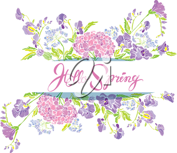 Rectangular frame with flowers and calligraphic handwritten text Hello Spring, isolated on white background. Seasonal design.