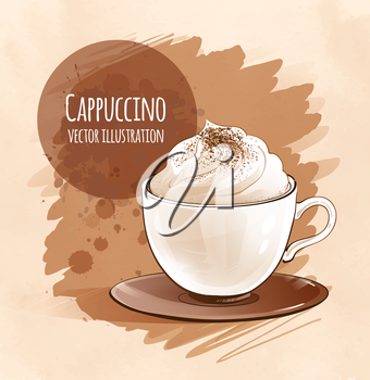 Cappuccino. Vector illustration. Isolated.