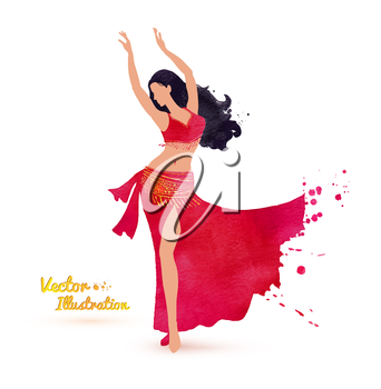 Belly dancer. Watercolor art. Vector illustration.