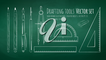 Chalkboard drawing of drafting tools. Vector set. Isolated.