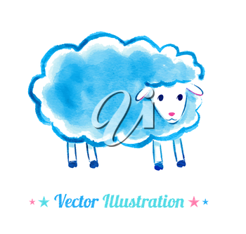 Cute watercolor sheep. Vector illustration. Isolated.