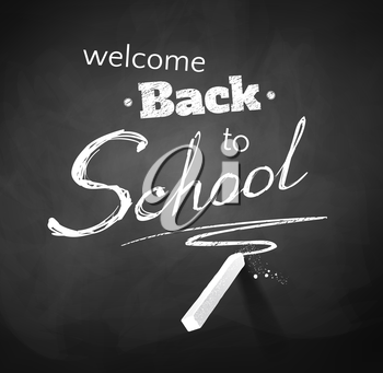 Back to School typographical Background. Chalkboard drawing. Vector EPS 10.