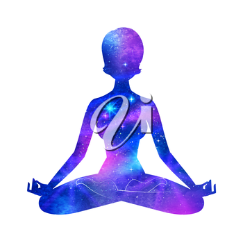 Meditation. Female silhouette with outer space. Vector illustration.