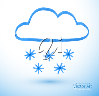Felt pen drawing of snowy cloud. Vector illustration. isolated.