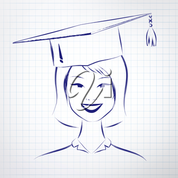 Asian student girl wearing graduation hat. Vector hand drawn sketch on notebook background.