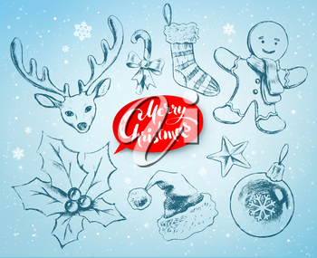 Christmas hand drawn line art vector set with festive objects and red lettering banner on soft blue winter background.