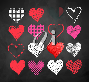 Vector color chalk drawn collection of grunge Valentine hearts on blackboard background.
