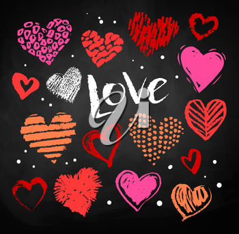 Vector color chalk drawn collection of grunge Valentine hearts on blackboard background with Love word lettering.