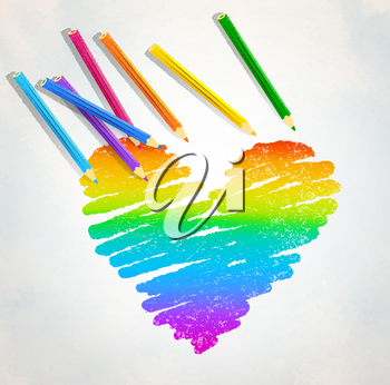 Vector sketch of rainbow colored heart with color pencils on paper background.