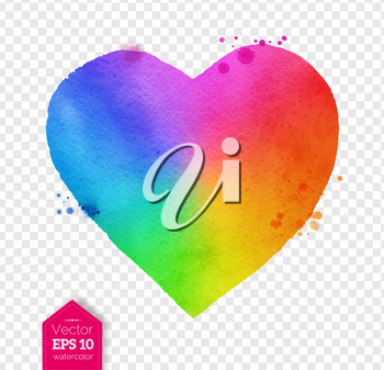 Vector watercolor sketch of rainbow colored heart with paint splashes on transparency background.