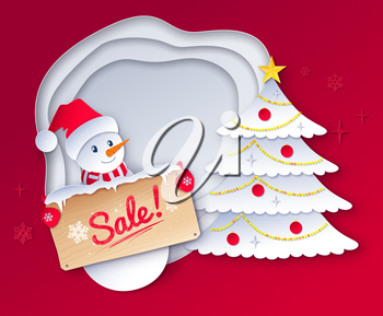 Vector paper cut style illustration of cute Snowman character with sale wooden signboard on Christmas tree and white layered shapes banner background.