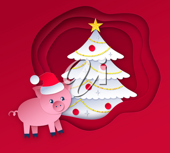 Vector cut paper art style illustration of New Year tree and cute pig character wearing santa hat.