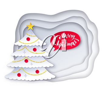 Vector illustration of decorated fir tree with white paper cut layered banner and red Merry Christmas speech bubble.