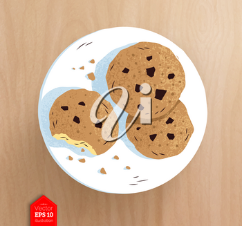Top view vector illustration of cookies on plate with realistic shadow on wooden table background.