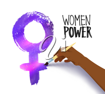 Vector illustration of african american female hand drawing woman symbol with ultraviolet outer space inside.