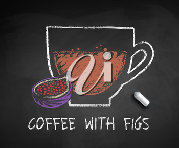 Vector chalked sketch of coffee with Figs with piece of chalk on chalkboard background.