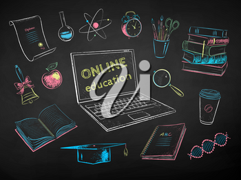 Vector color chalk drawn illustration collection of online education items on black chalkboard background.