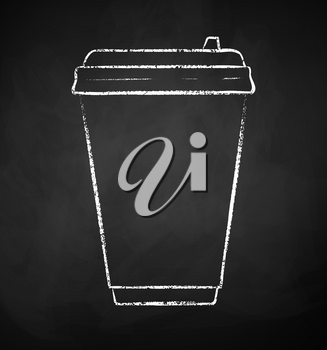 Vector chalk drawn illustration of coffee paper disposable cup on chalkboard background.