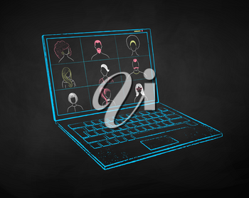 Vector color chalk drawn illustration set of laptop with live conference on black chalkboard background.