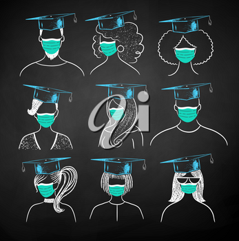 Vector chalk illustration collection of new normal students wearing face masks and mortarboards on black chalkboard background.