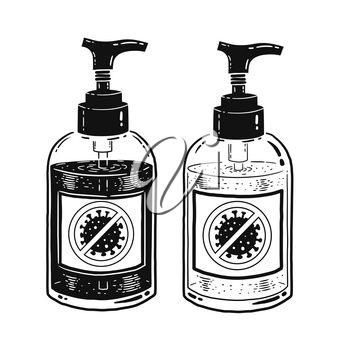 Vector black and white illustration of sanitizer bottles isolated on white background.