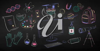 Vector color chalk drawn illustration collection of new normal education objects and owl sitting on desktop computer wearing face mask on black chalkboard background.