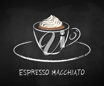 Espresso macchiato coffee cup isolated on black chalkboard background. Vector chalk drawn sideview grunge illustration.