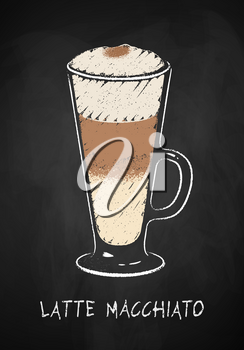 Latte Macchiato coffee cup isolated on black chalkboard background. Vector chalk drawn sideview grunge illustration.