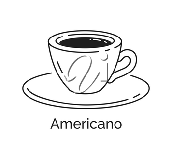 Vector minimalistic line art illustration of Americano Coffee cup isolated on white background.