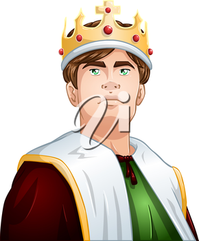 Royalty Free Clipart Image of a Young Proud King