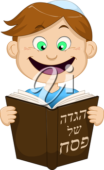Vector illustration of a boy reading from Haggadah on Passover.
