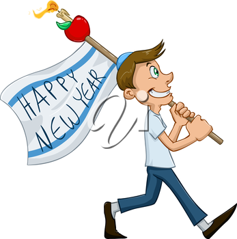 Vector illustration of jewish guy holds happy new year flag for rosh hashana