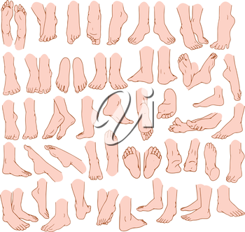 Royalty Free Clipart Image of  Various Feet Gestures