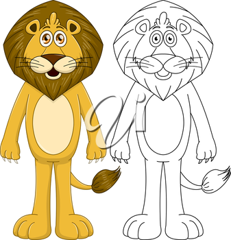 Vector illustration set of a cute humanoid lion with lineart.