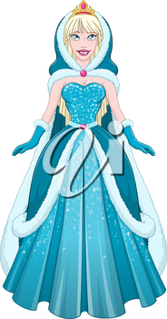 Vector illustration of a snow princess queen in blue dress cloak and hood.