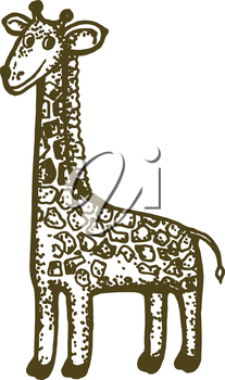 hand drawn, cartoon, sketch illustration of giraffe