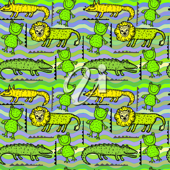 Vector graphic, artistic, stylized image of animal seamless pattern