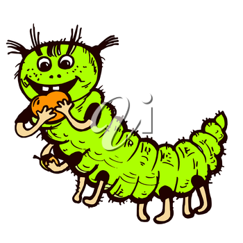 Vector graphic, artistic, stylized image of green caterpillar