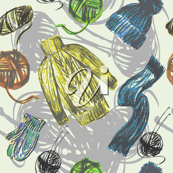 Vector graphic, artistic, stylized image of seamless pattern knitted things and skeins of thread