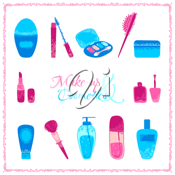 Hand-drawn elements of body care and cosmetics with vintage ornament isolated on white background.