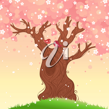 Spring landscape. Vector illustration. There is place for your text.