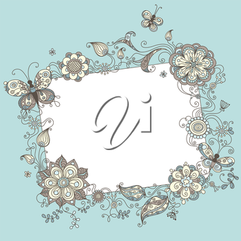 Illustration with linear floral elements and blank sign for your text.