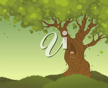 Color background with owl in hollow of a tree-trunk. There is place for your text in the sky.