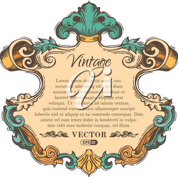 Retro hand-drawn badge with retro ornament for page decoration, invitation, congratulation or greeting card. There is place for your text.